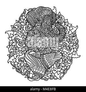 Lord Ganesha on indian mandala background. Asian pattern with leaves and flowers. Yoga style print. Black and white - Stock Photo