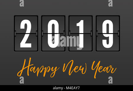 2019 Year on the Split-Flap Display with Happy New Year Message - Stock Photo