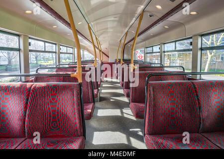 Empty seats in double decker bus - Stock Photo