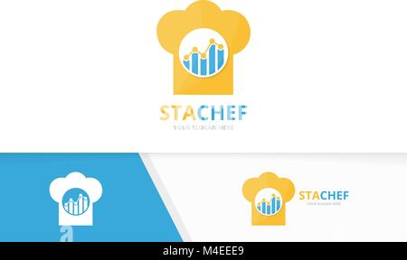 Vector graph and chef hat logo combination. Diagram and kitchen symbol or icon. Unique chart and cook logotype design - Stock Photo