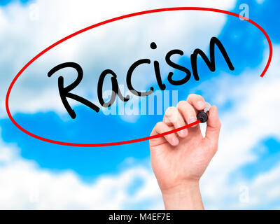 Man Hand writing Racism with black marker on visual screen. - Stock Photo