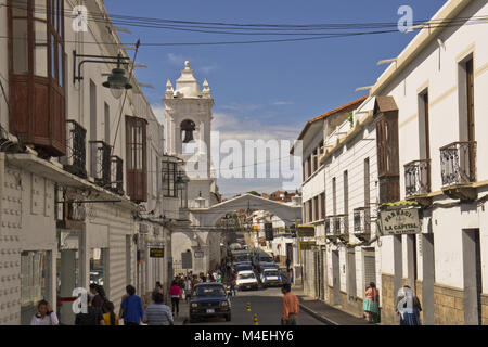 Sucre, Bolivia, street view - Stock Photo