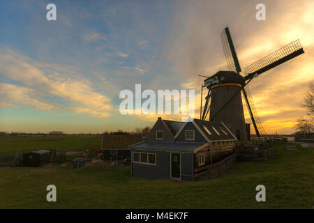 Lijkermolen, an 18th-century drainage windmill in typically Dutch polder landscape, Lijkerpolder, Rijpwetering, - Stock Photo