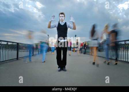 mime actor on street. outdoor shot - Stock Photo
