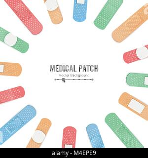 Medical Patch Vector. First Aid Band Plaster Strip Medical Patch Icon Set. Two Sides. Different Plasters Types. - Stock Photo