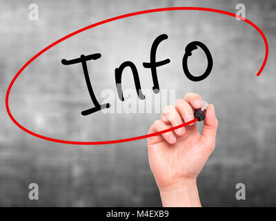 Man Hand writing Info with black marker on visual screen - Stock Photo