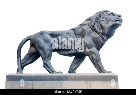 Big ancient archeology statue of lion isolated on white - Stock Photo