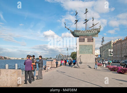 SAINT-PETERSBURG, RUSSIA - AUGUST 27, 2015: Chinese tourists near the Russian ship of the line Poltava (1712) Sculpture - Stock Photo