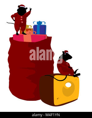 Little cute mouses with christmas presents silhouette on a white background - Stock Photo