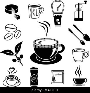 coffee icon set with accessory and ingredient of cup, glass, bean, sugar, bag, mug, grinder, package, spoon, cake, - Stock Photo