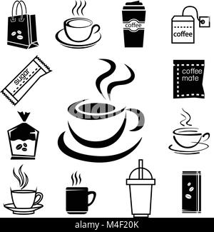 coffee icon set with accessory and ingredient of cup, glass, sugar, bag, mug, portmanteau, envelope, package, can - Stock Photo