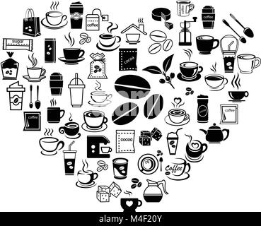 coffee icon set with accessory and ingredient of bean, jar, cup, jug, glass, sugar, bag, mug of break foods for - Stock Photo