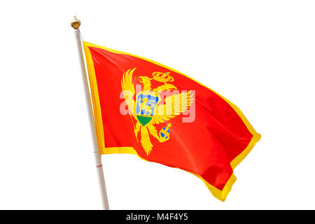 Montenegro flag isolated on white background - Stock Photo