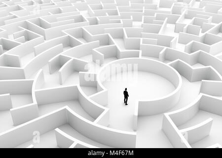 Businessman in the middle of the maze. Challenge concepts - Stock Photo