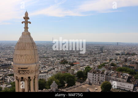 View from the top of Basilique du Sacre Coeur in Montmartre, Paris, France - Stock Photo