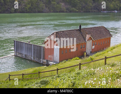 Outdoor  rhine bath, Eglisau Canton Zürich, Switzerland - Stock Photo