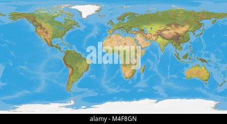 World Map Shaded Relief In GallPeters Projection Stock Photo - Natural world map