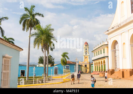TRINIDAD, CUBA: Urban scene in Main square in Trinidad, Cuba. Colonial town cityscape of Trinidad, Cuba. UNESCO - Stock Photo