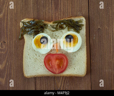 Funny sandwich for kids - Stock Photo