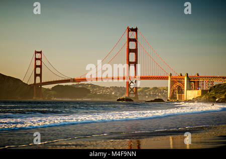 san francisco and alcatraz scenery at sunset - Stock Photo