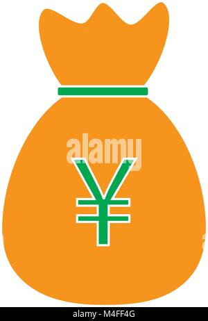 A Money Bag With A Japanese Yen Currency Sign Is Held In The Hand