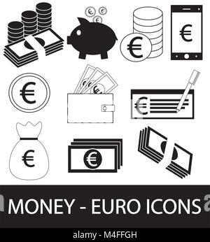 Set, collection or pack of Euro currency icon or logo vector. Coins, notes or bills, cell or mobile phone, wallet - Stock Photo