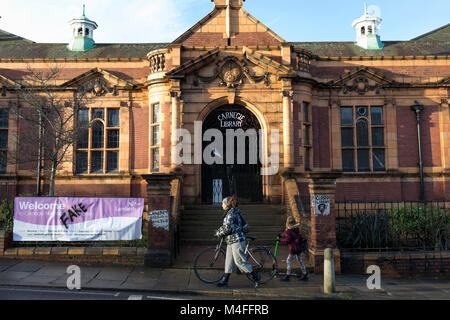 Exterior of the Carnegie Library on Herne Hill in south London which re-opens for the first time in almost 2 years, - Stock Photo