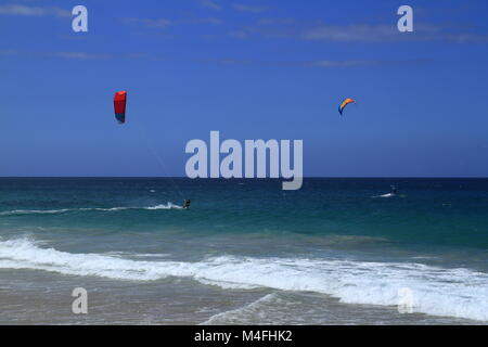 Kitesurfing on Fuerteventura Island - Stock Photo