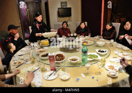 Shanghai, China. 16th February 2018. Beginning of Dog Year, Lunar New Year in China. Family reunion, big family - Stock Photo