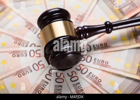 High Angle View Of The Judge Gavel Strike On Euro Banknote - Stock Photo
