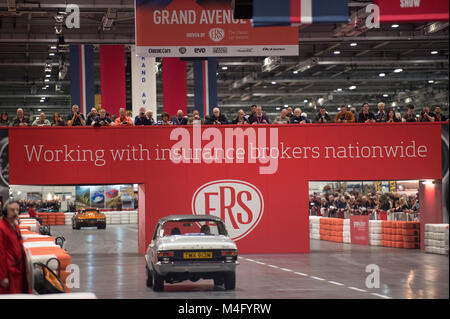ExCel, London. 16 February 2018. Visitors flock to The London Classic Car Show, expanded this year to fill one side - Stock Photo