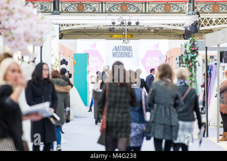 London, UK. 16 February 2018. Visitors at the Olympia during the National Wedding Show. Credit:  Laura De Meo / - Stock Photo