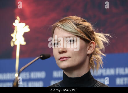 Berlin, Germany. 16th Feb, 2018. Actress Mia Wasikowska attends a press conference of film 'Damsel' during the 68th - Stock Photo