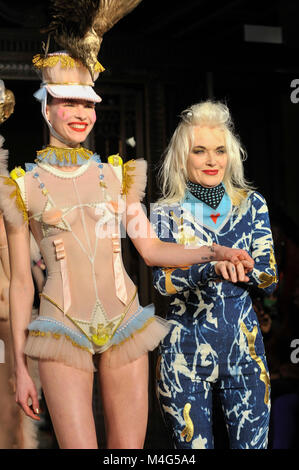 London, UK.  16 February 2018. (R) Pam Hogg at her show at Fashion Scout AW18, part of London Fashion Week, taking - Stock Photo