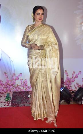 Mumbai, India. 16th Feb, 2018. Indian actress Rekha present at the 5th Yash Chopra Memorial Award at hotel JW Marriott, - Stock Photo