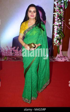 Mumbai, India. 16th Feb, 2018. Indian actress Padmini Kolhapure present at the 5th Yash Chopra Memorial Award at - Stock Photo