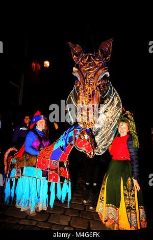 Oldham, UK. 16th Feb, 2018. Illuminated life size horse head and dancers at illuminate Oldham, 16th February, 2018 - Stock Photo