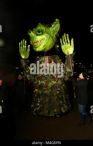 Oldham, UK. 16th Feb, 2018. A green illuminated puppet, Oldham, 16th February, 2018 (C)Barbara Cook/Alamy Live News - Stock Photo