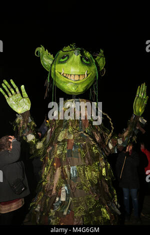 Oldham, UK. 16th Feb, 2018. A green illuminated life size puppet, Oldham, 16th February, 2018 (C)Barbara Cook/Alamy - Stock Photo