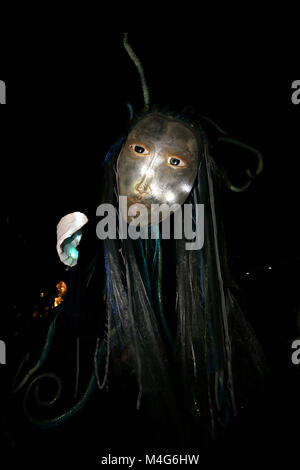 Oldham, UK. 16th Feb, 2018. A giant puppet illuminated, Oldham, 16th February, 2018 (C)Barbara Cook/Alamy Live News - Stock Photo