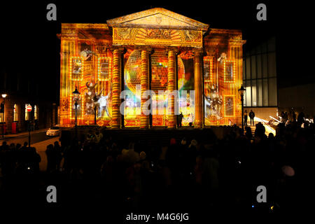 Oldham, UK. 16th Feb, 2018. The exterior of the old town hall is illuminated by a series of 3d projections, Oldham, - Stock Photo