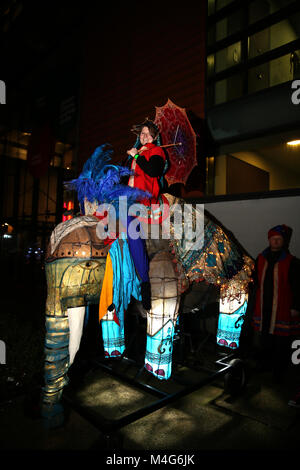 Oldham, UK. 16th Feb, 2018. An illuminated life size Elephant model, Oldham, 16th February, 2018 (C)Barbara Cook/Alamy - Stock Photo