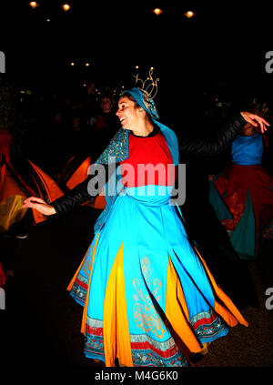 Oldham, UK. 16th Feb, 2018. A dancer takes part in entertainment at illuminate Oldham, 16th February, 2018 (C)Barbara - Stock Photo