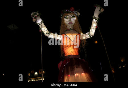 Oldham, UK. 16th Feb, 2018. A life size illuminated puppet, Oldham, 16th February, 2018 (C)Barbara Cook/Alamy Live - Stock Photo