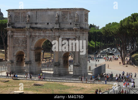 View of the Arch of Constantine from the North, near the Colosseum, Rome, Italy. - Stock Photo