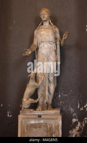 Roman era statue of Diana with hunting dog, Vatican Museum, Vatican Museum, Rome, Italy. - Stock Photo