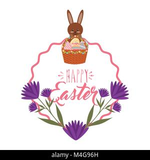 cute bunny basket eggs purple flowers and frame decoration - Stock Photo