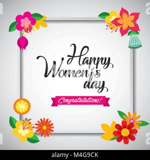 Floral greeting card. March 8. Happy Womens Day. flowers cutting out pieces of paper - Stock Photo
