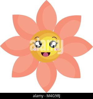 cute flower kawaii character - Stock Photo