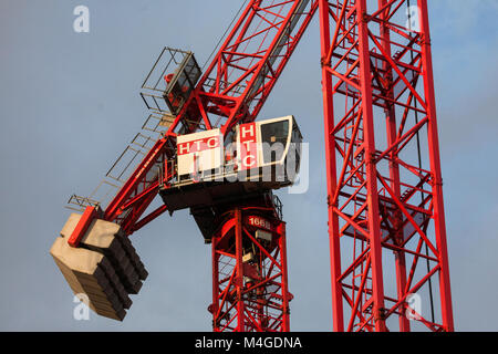 London, UK. 30th January, 2018. Cranes on a construction site in central London. - Stock Photo